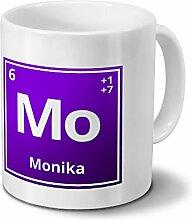 Tasse mit Namen Monika als Element-Symbol des