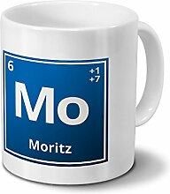 Tasse mit Namen Moritz als Element-Symbol des