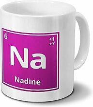Tasse mit Namen Nadine als Element-Symbol des