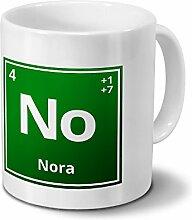 Tasse mit Namen Nora als Element-Symbol des