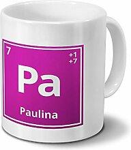 Tasse mit Namen Paulina als Element-Symbol des