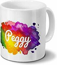 Tasse mit Namen Peggy - Motiv Color Paint -