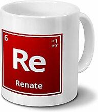 Tasse mit Namen Renate als Element-Symbol des