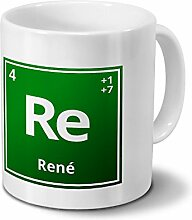 Tasse mit Namen René als Element-Symbol des