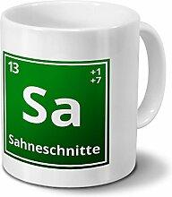 Tasse mit Namen Sahneschnitte als Element-Symbol