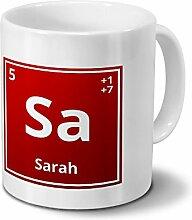 Tasse mit Namen Sarah als Element-Symbol des