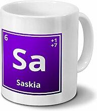 Tasse mit Namen Saskia als Element-Symbol des