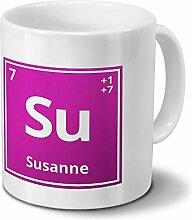 Tasse mit Namen Susanne als Element-Symbol des