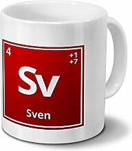 Tasse mit Namen Sven als Element-Symbol des