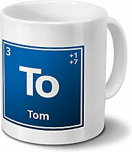 Tasse mit Namen Tom als Element-Symbol des