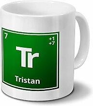 Tasse mit Namen Tristan als Element-Symbol des
