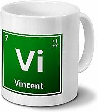 Tasse mit Namen Vincent als Element-Symbol des