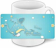 Tasse mit Namen Vitus und schönem Drachen-Motiv