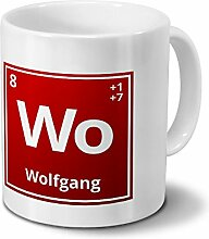 Tasse mit Namen Wolfgang als Element-Symbol des