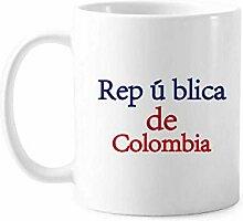 Tasse mit Nationalflagge Kolumbien, englisches