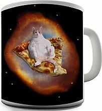 Tasse, mit Pizza- und Katzenmotiv