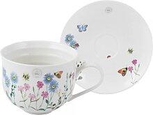 Tasse mit Untertasse MEADOW BUGS H. 10cm weiß Keramik Creative Tops (19,95 EUR / Stück)