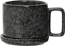 Tasse mit Untertasse NOIR BLACK schwarz grau D.