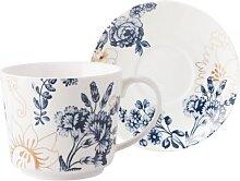 Tasse mit Untertasse PALMER'S SILK 250ml weiß blau gold Porzellan Creative Tops (17,95 EUR / Stück)