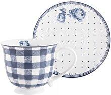 Tasse mit Untertasse VINTAGE INDIGO 200ml weiß mit blauen Rosen Creative Tops (13,95 EUR / Stück)