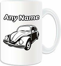 Tasse mit VW Käfer, personalisierbares Geschenk, große Tasse mit Vintage-Käfer in Schwarz-Weiß Käfer