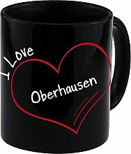 Tasse Modern I Love Oberhausen schwarz - Becher