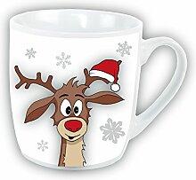 Tasse Rentier weiß Didi Weihnachstasse Teetasse Pott Becher 310ml Keramik Weihnachtstasse Weihnachtsbecher