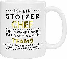 Tasse - stolzer Chef (gelbe Schrift): Kaffeetasse