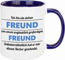 Tasse – stolzer Freund (Freund): Becher aus Keramik mit romantischem Spruch – bedruckte Kaffeetasse zum Valentinstag – Geschenkidee zum Jahrestag für den Freund oder den Partner