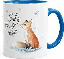 Tasse Weihnachten Baby it`s cold outside Spruch Fuchs Winter Schnee Fox Weihnachtsbecher Weihnachtstasse Autiga® blau unisize