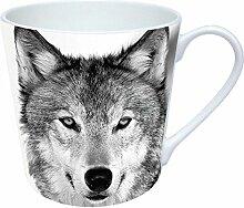 Tasse, weiß mit Fotodruck Wolf, Porzellan, Höhe