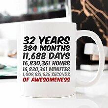 Tasse zum 32. Geburtstag, Jahrestag, Geschenk für