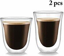 Tassen 2Pcs Transparente Kaffeetasse