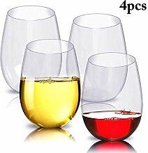Tassen 4 Stück Weinglas Bruchsicherer Kunststoff