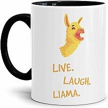 Tassendruck Alpaka-Tasse Live Laugh Llama - Innen