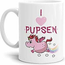 Tassendruck Einhorn-Tasse I Love Pupsen -