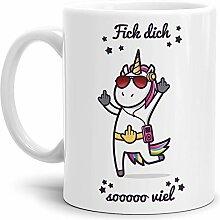 Tassendruck Einhorn-Tasse mit Spruch Fick Dich so