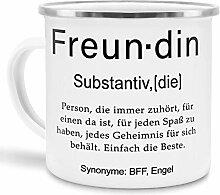 Tassendruck Emaille mit Definition Freundin -