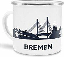 Tassendruck Emaille-Tasse mit Skyline von Bremen -