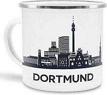 Tassendruck Emaille-Tasse mit Skyline von Dortmund