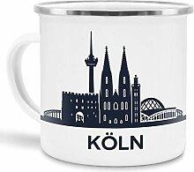 Tassendruck Emaille-Tasse mit Skyline von Köln -