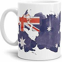 Tassendruck Flaggen-Tasse Australien Weiss -