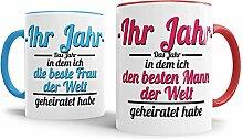 Tassendruck Partner-Tassen Mann, Frau geheiratet /