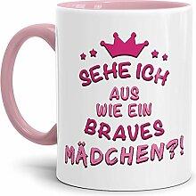 Tassendruck Spruch-Tasse Braves Mädchen Innen &
