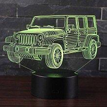 Tatapai 3D Illusion Lampe LED Nachtlicht Jeep Auto