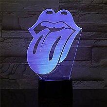 Tatapai 3D LED Nachtlicht USB Visual Lip Tongue