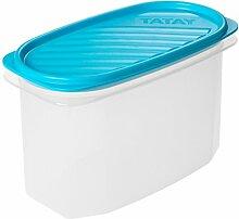 TATAY Vorratsdose oval 1,2 Liter Kunststoff 18,4 cm x 9,7 cm x 12,2 cm, blau, 1.2L