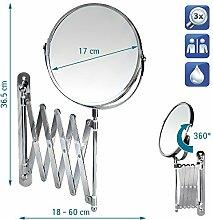 Tatkraft AURORA Kosmetik-Wandspiegel Teleskop- Schminkspiegel 3X Vergrösserung Chrom Durchmesser 17cm