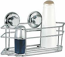 Tatkraft Megalock Duschregal Duschkorb Badezimmer ohne Bohren mit Saugnäpfen Stahl Verchromt 30.5X15.5X10.5cm