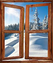 TATOUTEX Aufkleber L Auge Fenster Deko Die Alpen OEM 723, 100x120cm